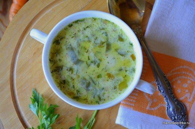 Сырный суп с зелёным луком