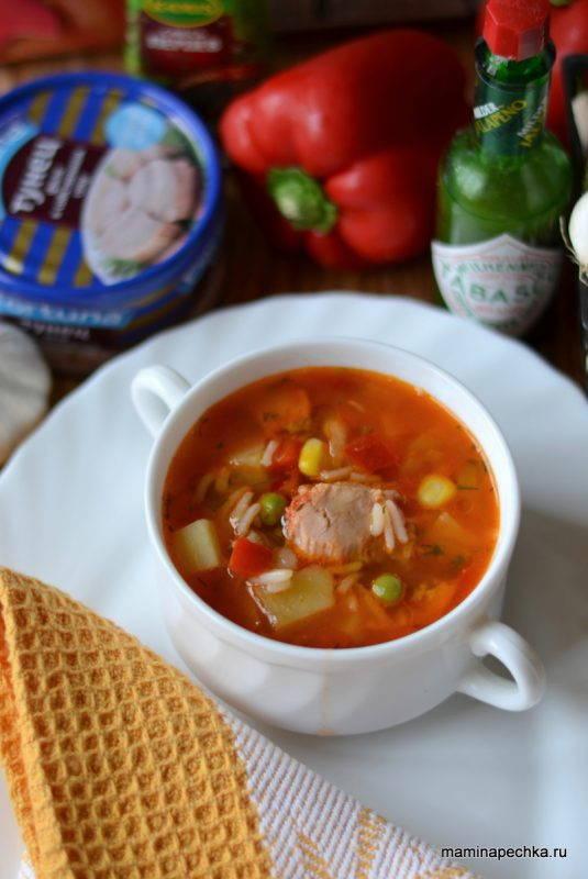 Суп с тунцом и гавайской смесью